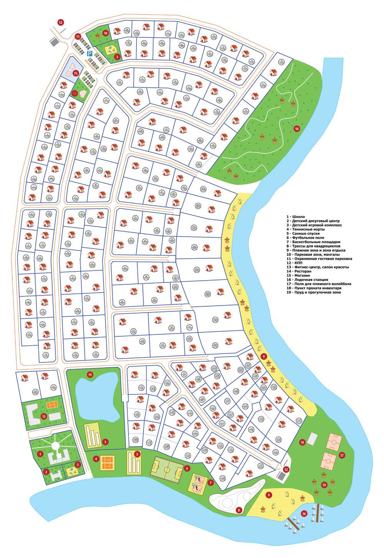 Генеральный план жилого комплекса Ривер Клаб в разных форматах.