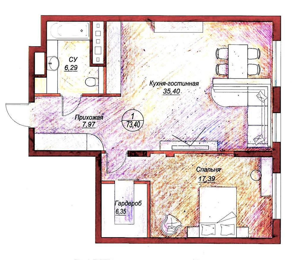 Дизайн квартиры до 50 кв.м