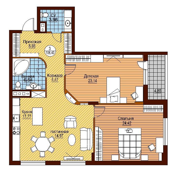 Дизайн планировки трехкомнатных квартир
